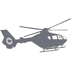 GRAZDesign Wandtattoo Hubschrauber Wandsticker für Jugendzimmer, Wohnzimmer Wandaufkleber für Kinder, Jungs (63x30cm//071 grau)