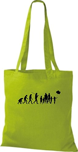ShirtInStyle Stoffbeutel Jute Evolution Papa Mama Kind diverse Farbe lime green