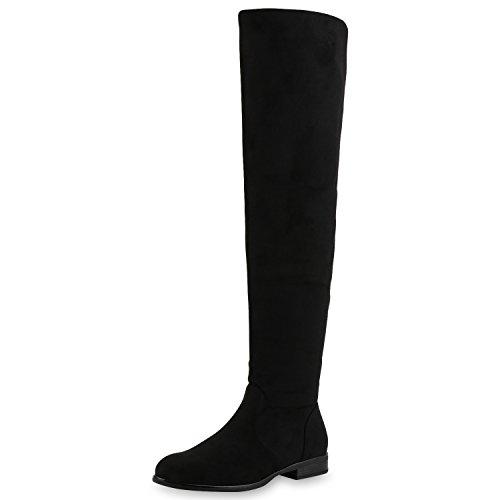 napoli-fashion Damen Schuhe Stiefel Overknees Wildleder-Optik Leicht Gefütterte Schwarz Basic 39 Jennika (Wildleder-bootie Schwarze)