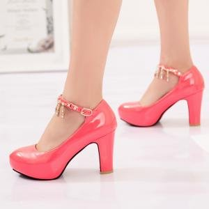 hexiaji 21cm-26.5ccm chaussure femme chaussure haut talon chaussure perle chaussure rose blanche Rose