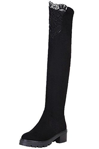 BIGTREE Damen Oberschenkel Stiefel Sexy Stickerei Spitzen Blockabsatz Warm Gefüttert Langschaft Stiefel von Schwarz 38 EU (Spitzen-up-fell-stiefel)
