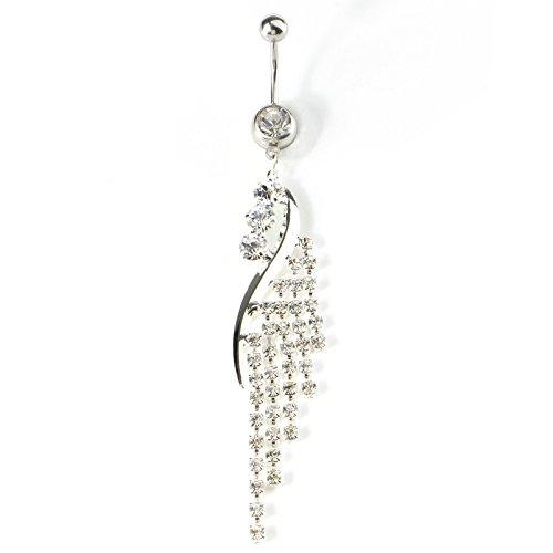 Beydodo piercing da ombelico pendente in acciaio chirurgico anello dell'ombelico con strass argento piercing ombelico gioielli uomo