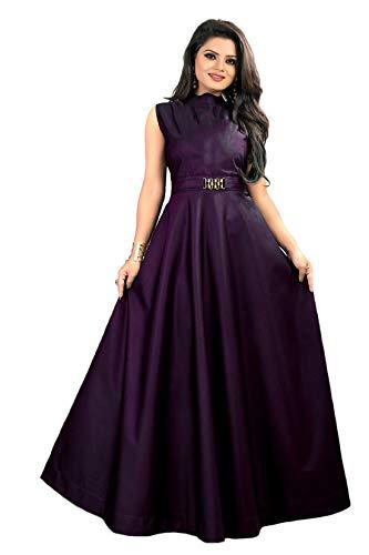 vaidehi creation Women's Twill Tafeta Anarkali Style Gown for Girl (Purple)