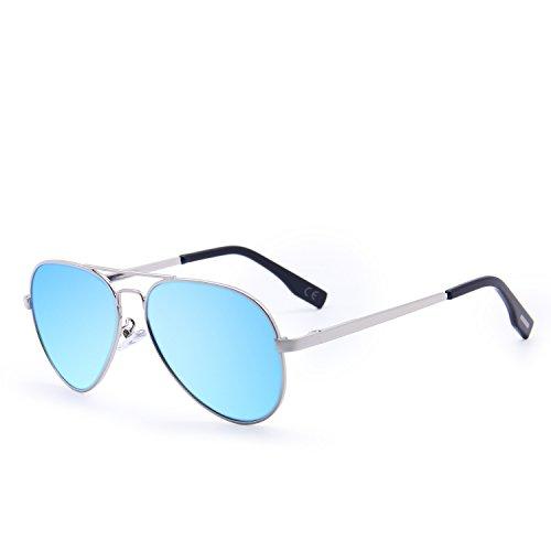 Amztm classico aviatore occhiali da sole polarizzati bambini metallo telaio revo lente all'aperto occhiali da sport protezione 100% uv400 cool ragazzo ragazza deve avere (blu ghiaccio)