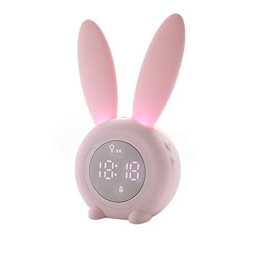 Cute Rabbit Lichtwecker Creative Table Nachttischlampe Stummes Nachtlicht, Snooze-Funktion, 6 laute Töne, zeitgesteuertes Nachtlicht, Kindertagesgeschenk für Kinder, Mädchen, Baby(Pink)