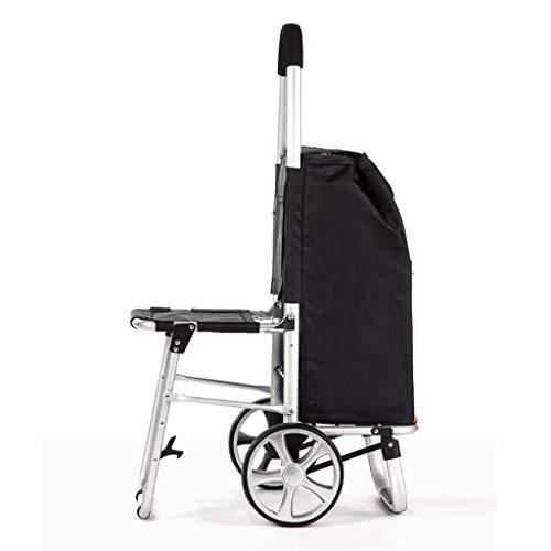 RTTgv Einkaufstrolleys Zusammenklappbare Einkaufswagen Sitz und Mobile Zubehörtasche Einkaufskorb tragbare Radverschönerung Kann sitzen