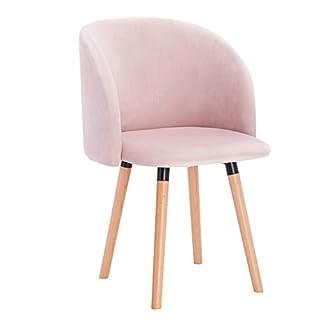 WOLTU 1x Chaise de Salle à Manger Chaise de Repas en Velours Fauteuil de Cuisine, Rose, BH121rs-1