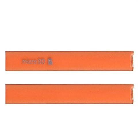 Hedywei Kappe Abdeckung Klappe für Sony Xperia Z3 Compact USB Port SD Card Slot Cover Orange (Sony Xperia Z3 Micro Sd Card)