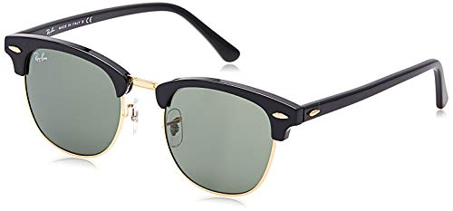 Ray-ban clubmaster rb3016 w0365, occhiali da sole unisex-adulto, black (w0365 ebony/arista), 51 mm