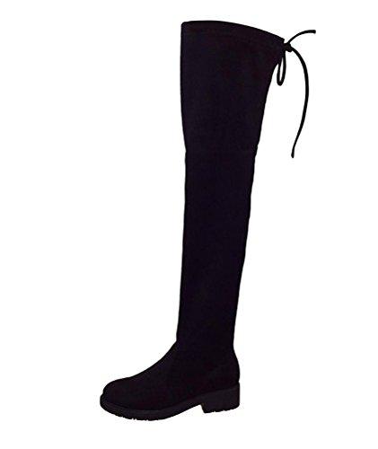 Brinny Chaussure Mode Cuissarde cavalier souple femme Lacet ruban satin Talon haut bloc 3.5 CM