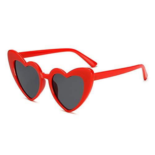 ACKJ Vintage Sonnenbrille Mode Liebe Herz Sonnenbrille Frauen nette retro Cat Eye Vintage billige rote Frau, C3