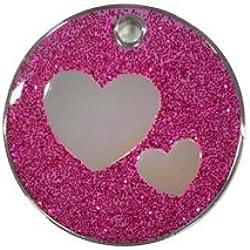 Personnalisé Médaille pour Animal domestique en forme de Coeur à Paillettes Violet (Moyen)   SERVICE DE GRAVURE   Médaille pour Chat et Chien Personnalisée Réfléchissante à Paillettes