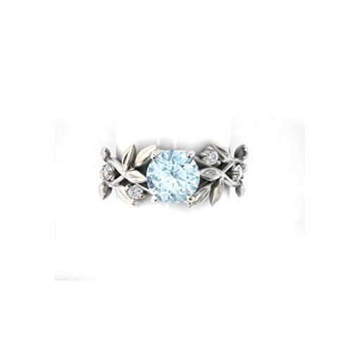 DAY.LIN Ringe Für Damen Ring Damen Der Herr Der Ringe Frauen Silber Floral Transparent Diamant Blume Weinblatt Ringe Hochzeitsgeschenk (US-Größe 8)
