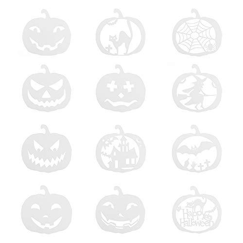 JBGER 12pcs/Set Papier Karte DIY Handwerk Prägung Scrapbooking Stempel Kürbis Frohes Halloween Malvorlage Schablonen für Lagen
