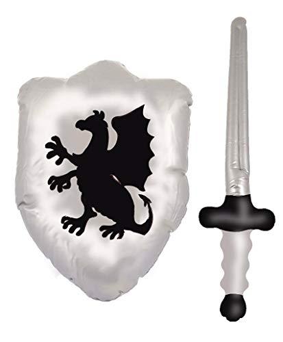 fashioncrazexx Kinder Schwert und Schild aufblasbar Ritter Drache Silber Schwarz Kostüm Gr. Einheitsgröße, Inflatable Shield 48cm & Sword 62cm