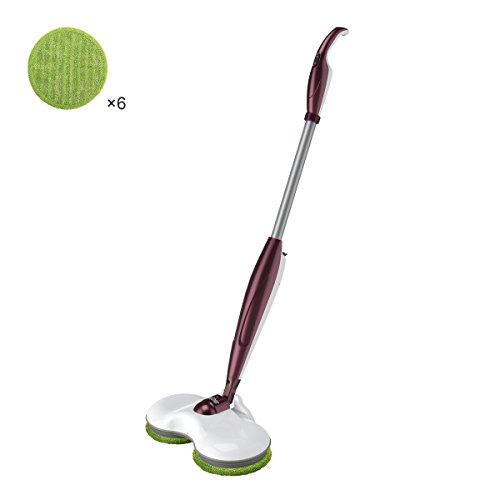 Finether mop electric wireless con doppia testa rotazione vaschetta trasparente mop ricaricabile, rosso