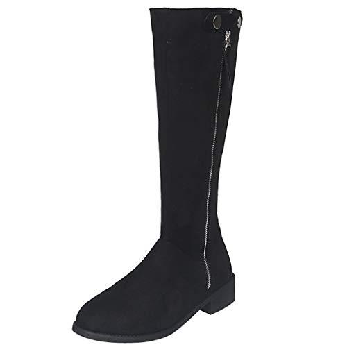 BASACA Damen Stiefeletten Frauen Schuhe Quaste Reißverschluss Schlupfstiefel Quadratischem Absatz Warmer Langschaft Long Tube Stiefel (38 EU, B Schwarz)