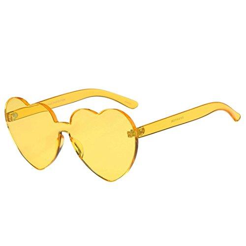Gläser ,Frashing Frauen Fashion Heart-shaped Shades Sonnenbrille Integrierte UV Candy Colored Glasses (Gelb)