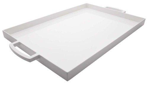 Zak Designs rectangulaire Plateau de Service, 19.5 par 11.5, incassable et Plastique sans BPA, Blanc