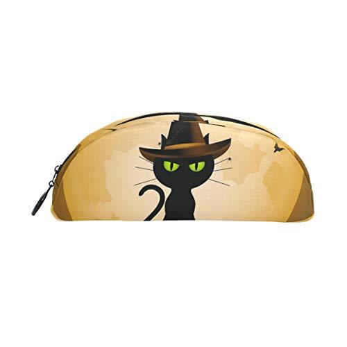 Federmäppchen Halter Magic Cat Halloween Hexen Vollmond Muster Stiftebeutel mit Reißverschluss Make-up für Kinder Mädchen Jungen (Niedliche Halloween Hexe Make-up Für)