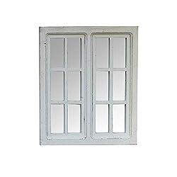 Melody Maison White Wooden Window Pane Mirror 49cm x 58cm