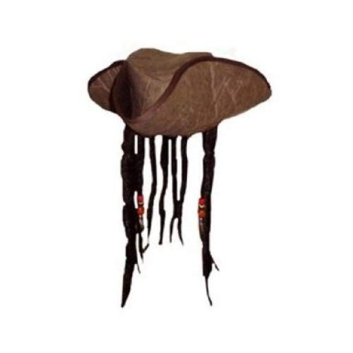Henbrandt Carribbean Pirate Captain Hat With Beads and Attached Fake Dreadlock Hair, Costume)