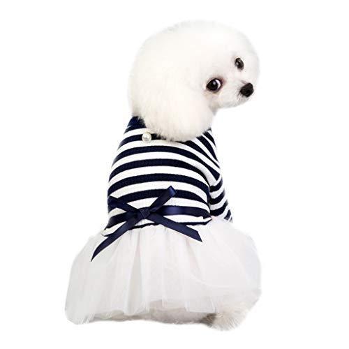 Kleine Hund Katze Bowknot Tutu,Haustier Welpen Spitze Rock Kleid,Streifen Prinzessin Kostüm,Nette Katze Frühling Herbst Kleidung Kleidung (Marine, ()