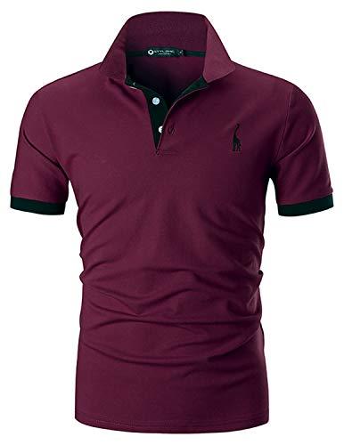 hirt Kurzarm Einfarbig Basic Polohemd S-XXL,Rot 1,Large ()