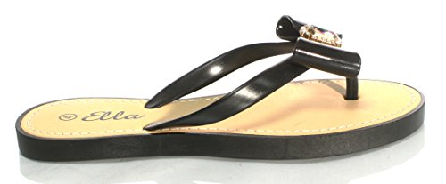Donna donna Ella sandali infradito suola morbida gioiello taglie UK 3–8 Black