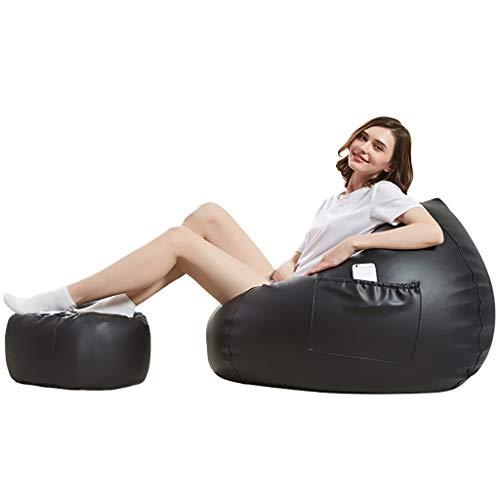 Schwarze Napa Leder (Leder Sitzsack, Sofa Sack, Sofa Stuhl, Single Schlafzimmer Sitzsack Sofa Modern Mini Kleine Lounge Sessel, Gaming Chair (Farbe : SCHWARZ, größe : with Footstool))