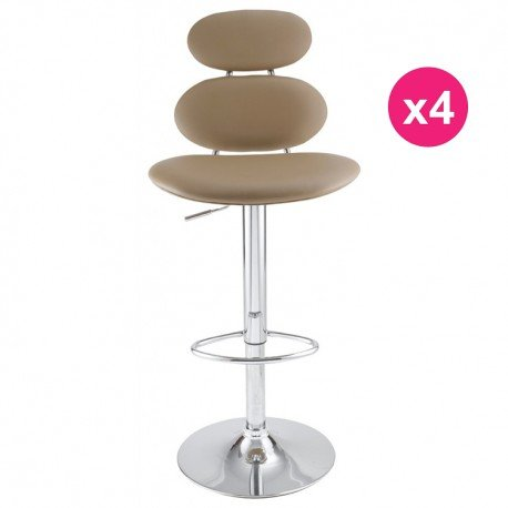 Lot de 4 Tabourets de Bar Taupe KosyForm