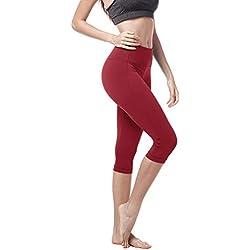 LAPASA Mallas Deportivas 3/4 Capris de Mujer (Leggings para Yoga, Pilates, Running) L02