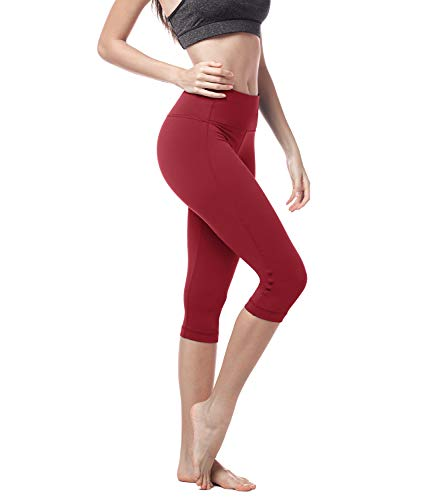 LAPASA Donna Capri Leggings 3/4 Allenamento Opaco Yoga Fitness Spandex Palestra Pantaloni L02 (M/42(Vita 70-80 cm), Rosso super opaco)