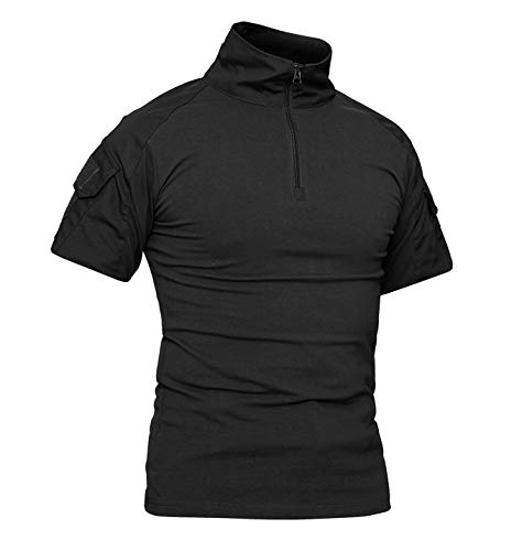 KEFITEVD Taktisch Shirt Herren Kurzarm Militärisch T-Shirt Stehkragen Atmungsaktiv Tactical Hemd Airsoft Uniform Arbeitsshirt Outdoor Schwarz L (Etikett: 2XL)