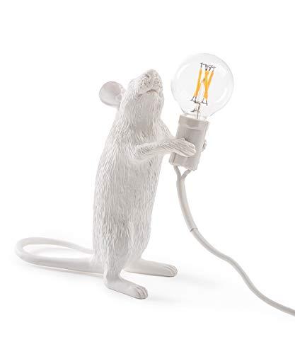 Seletti Mouse Lamp-Stehend, Harz, Weiß, 14,5 x 6,2 x 8,1 cm -