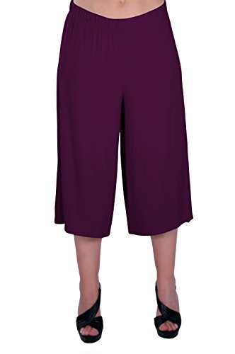 Eyecatch - Chloe Aux Femmes Vaste Jambe Moderne Pantalon Dames Culottes Short Pantalons Aubergine
