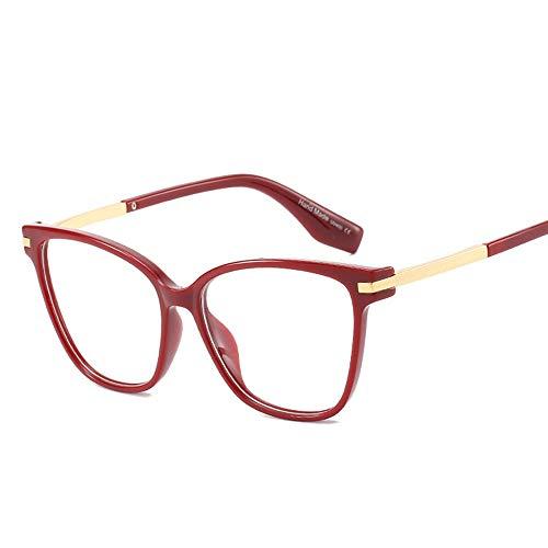 Damenmode gefälschte Brillen, klare Brillenglas, Metalltempel. Brille (Farbe : Weinrot)