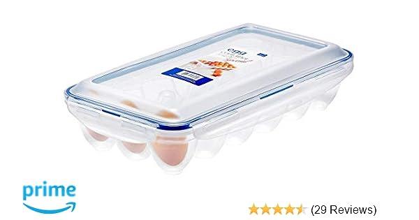 Transparent//Blau Lock /& Lock Egg Multifunktionsbox Transportbox f/ür 18 Eier