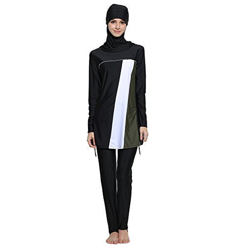 Muslimischen Frauen Patchwork Langarm Top + Hosen Badeanzug -