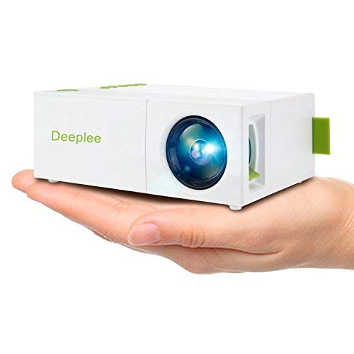 Deeplee Mini Projector  Portable LED Projector Home Cinema Theater with PC Laptop USB SD AV HDMI Input Pocket Projector for Video Movie Game Home Entertainment Projector  White