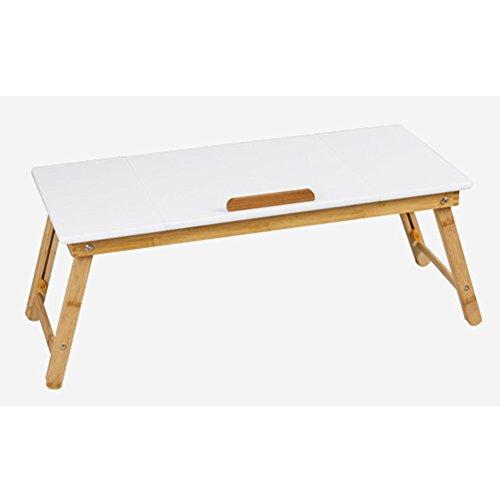 LVZAIXI Tragbare Bambus Faltbare Laptop Schreibtisch Notebook höhenverstellbar Tablett Tisch Bett Tisch mit Schublade (ohne Belüftung Slots) ( Farbe : Weiß ) (Slot Tabelle)