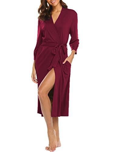 Damen Morgenmantel Baumwolle Nachtwäsche Nachthemd Kimono Lange Robe Bademantel Für Frauen Saunamantel V Ausschnitt mit Gürtel und Tasche (Burgund M) - Lange Robe