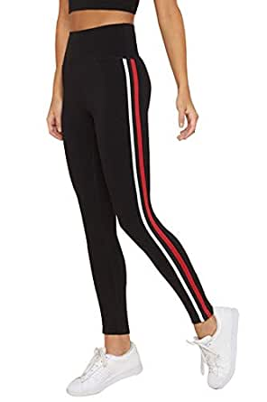 BLINKIN Yoga Gym Workout and Active Sports Fitness Black Stripe Polyester Leggings Tights for Women|Girls(5550)