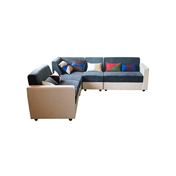 BANTIA FURNITURES PVT BANTIA FURNITURES London 7 Seater L-Shape Sofa Set (Grey and White with Multicolour Pillows)