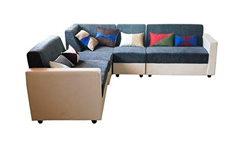 BANTIA FURNITURES London 7 Seater L-Shape Sofa Set (Grey and White with Multicolour Pillows)