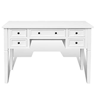 Anself Writing Desk 5 Drawers Home Office Desks White