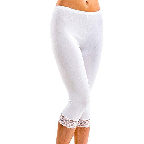 HERMKO 5722 Damen Capri-Leggings mit Spitze, Farbe:weiß, Größe:36/38 (S)