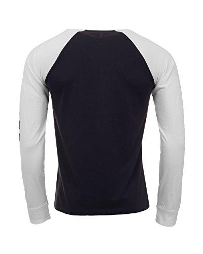 Timberland T-Shirt Uomo Manica Lunga Cotone Blu e Bianca Blu