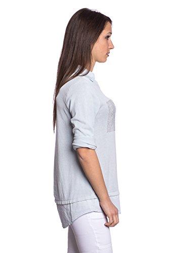 Abbino 8197-10 Tops Shirts Femmes Filles - Fabriqué en Italie - 8 Couleurs - Transition Printemps Été Automne Manches Longues Elegant Classique Casual Party Basique - Taille Unique (38-42) Bleu Ciel