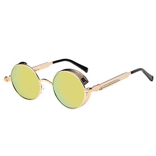 Vintage Metal Frame Round Reflective Sunglasses Circle Mirrored Sunglasses Men Women Glasses (Golden Frame with Golden Silver Lens)